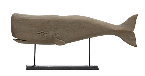 Creative Co-Op Hand Carved Mango Wood Whale on Stand