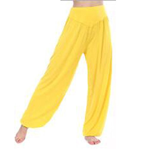 koineco de la mujer Modal algodón suave Yoga Sports Dance harén pantalones amarillo