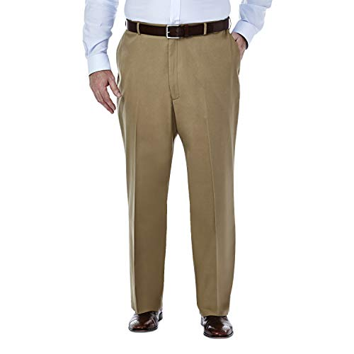 Haggar Men's Big-Tall Premium No Iron Classic Fit Plain Front Pant, British Khaki, 46x30
