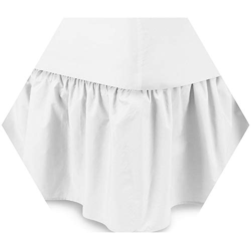 (Hotel Elastic Bed Skirt Suede Fabric King/Queen Size Dust Ruffle Pastoral Fit Bedspread White Queen)