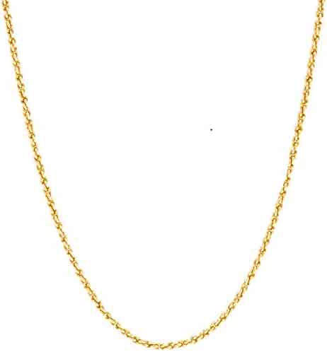 Lifetime Jewelry 1MM Rope Chain, 24K Gold with Inlaid Bronze, Premium Fashion Jewelry, Pendant Necklace Made Thin For Charms, Guaranteed for Life, 16 to 30 Inches