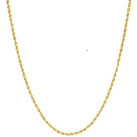 Lifetime Jewelry 1MM Rope Chain, 24K Gold with Inlaid Bronze, Premium Fashion Jewelry, Pendant Necklace Made Thin For Charms, Guaranteed for Life, 24 - 18k Rope Necklace