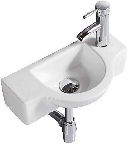 浴室セラミック洗面器白い小さなシンク壁マウントシンクコーナーシンク445 X225 X125mm