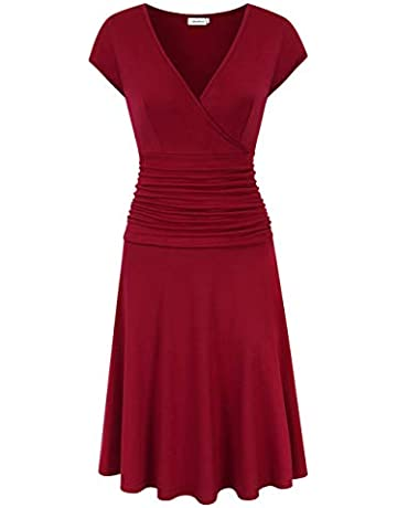 c074af34c Clearlove Women V-Neck 3/4 Sleeve Tummy Control Slim Dress