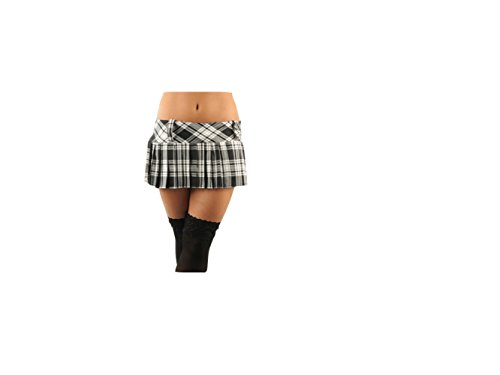 Womens 9 oder 30.5cm Mikro Mini Hipster Voll Plissiert Schottenkaro Sexy Röcke Shorts Kilt - Schwarz, 36.