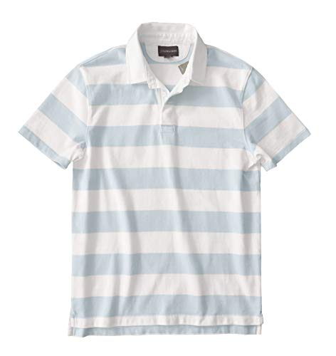 Sleeve Rugby Short Striped - J.Crew Men's 1984 Rugby Striped Short Sleeve Polo Shirt (Medium, Blue/Ivory Stripe)