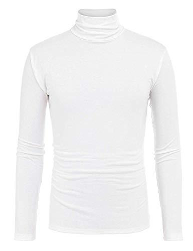 Bosbary Mens Slim Fit Full Sleeve Turtleneck Pullover Shirt White ()