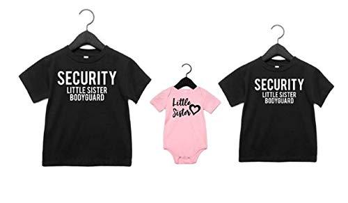 Sibling shirts set of 3 Security Little Sister Bodyguard Little Sister