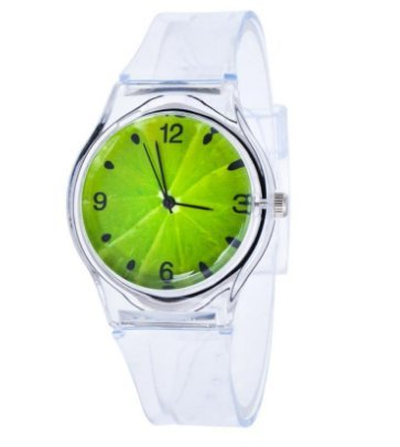 [Transparent Kiwi Silicone Quartz Wrist Watch For Student Boys Girls] (Girl Popeye Costume)