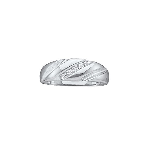 Jewels By Lux 14k White Gold Round Channel-set Diamond Mens Lightweight Wedding Band 1/10 Cttw (I2-I3 clarity; J-K (Round Channel Set Diamond Band)