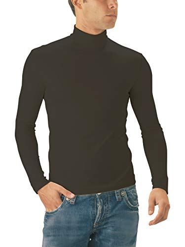 Vert Coutures Perspirante Seamless Montant Pull Manches Italy Sensi' Made Microfibre Longues In Homme Col Sans xqB6wwpTZ