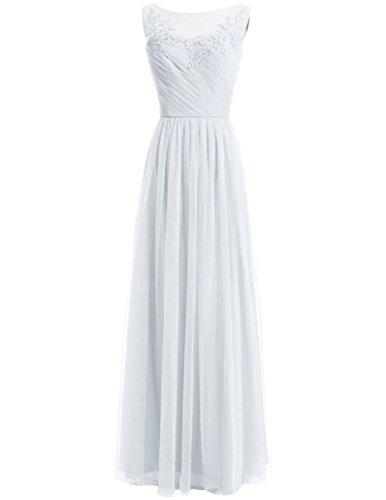 Tulle De Cou Bateau Longues Robes De Demoiselle D'honneur Dentelle Robes De Mariée Sans Manches Ainidress Blanc