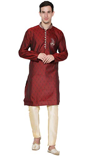 SKAVIJ Men's Art Silk Kurta Pajama Set Indian Ethnic Dress (Medium, Red)