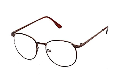 Flowertree S3115 Metal Frame Engraved Detail Side Round Eyeglasses (brown, - Lens Replacement Cheap Eyeglass