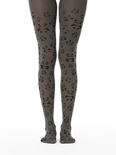panda printed pantyhose opaque tights for women grey cute panda