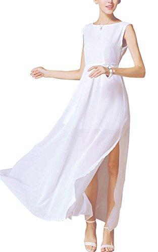 Buenos Ninos Women's Sleeveless Chiffon Side Split Empire Maxi Dress with Removable Shoulder Flower White ()