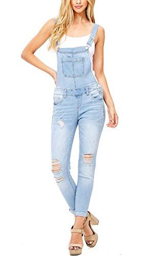Misassy Womens Ripped Denim Bib Overall Jumpsuit Jeans Skinny Distressed Long Rompers (Medium, Light - Overalls Skinny