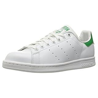 adidas Originals Women's Stan Smith Leather White/Green Comfort Shoe, White, Size 11