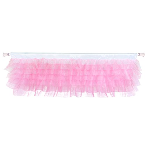 Pink Tulle Tutu Valance Curtains - Fluffy Mesh Layered Ruffle Window Valance for Girl Room Baby Nursery Window Decorations 52