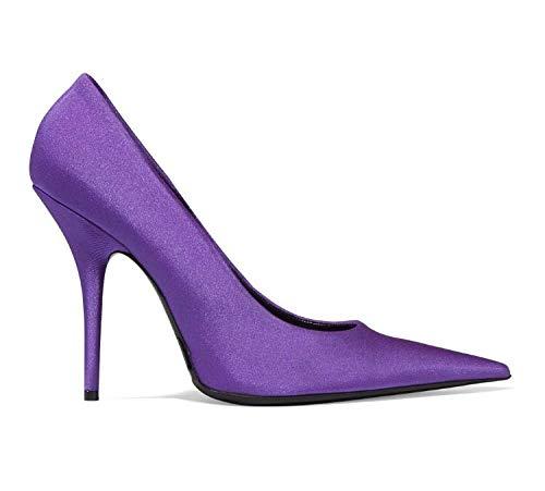 Yukun zapatos de tacón alto Zapatos De Mujer De Tacón Alto De Seda De Gran Tamaño Acentuados Súper Alta con Zapatos De Plataforma De Boca Baja Femeninos, 39, Púrpura Purple