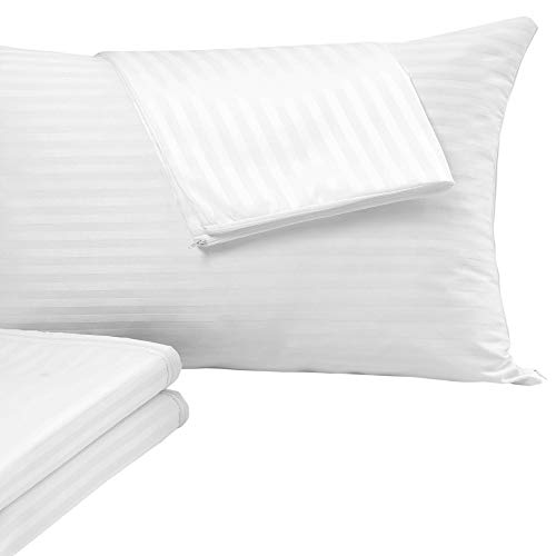 Pillow Protectors 4 Pack ❤️Allergy Control❤️100%Cotton Sateen Standard 20x26Inches Hypoallergenic PillowCases Covers White Premium Thread Count 400 Style Life Time Replacement Set Zipper Hotel Quality