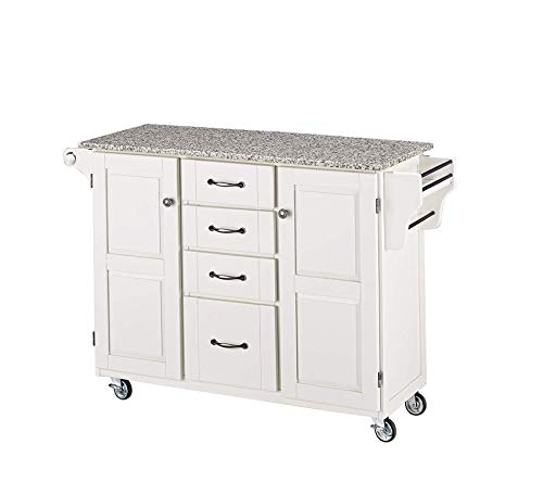 (Wood & Style Furniture White 2 Door Cabinet Kitchen Cart with Salt and Pepper Granite Top by Home Office Commerial Heavy Duty Strong Décor)