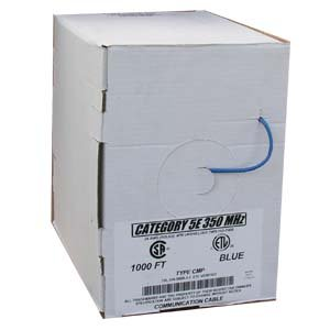Arrowmounts AM-Cat5e-Bulk-905BL 1000' Cat 5E Cat5e Solid Ethernet LAN Network Cable Plenum Blue, UL/Etl/CSA