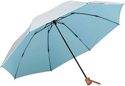 UVカット 晴雨兼用 3つ折傘 60cm 遮光 折りたたみ ひんやり傘 日傘【LIEBEN-0585】 シルバー (ブルー)