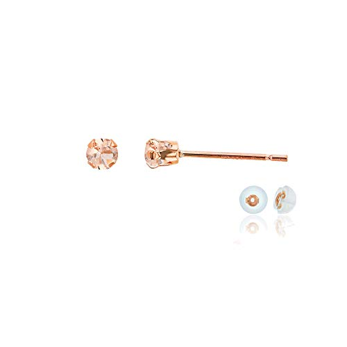 Genuine 14K Solid Rose Gold 3mm Round Natural Peach Morganite Birthstone Stud Earrings (Morganite Ring 14k Rose Gold)