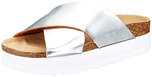 Colours of California Women's Bio Cross Upper High Sole Open Toe Sandals Silver (Silver Sil) fake for sale ybvK8
