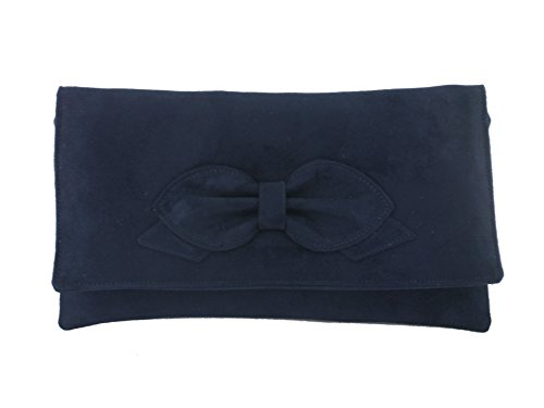 Navy Faux Suede Clutch Bag - 7