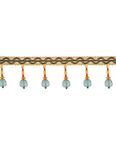 Melody Aqua Teal Orange Spice Beaded Tassel Onion Ball Fringe Trimmings Upholstery Fabric by the yard