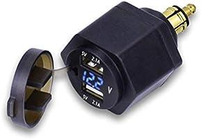 Parkomm - Cargador para mechero de Coche (Doble USB, con voltímetro LED para BMW, Moto, teléfono, iPhone, GPS, SatNav)