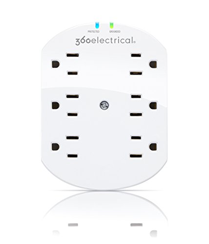 360 Electrical 360301 Loft 6 Outlet Surge Protector Wall Tap with Mounting Screw