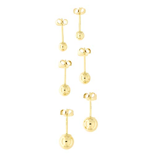 14k Yellow, White or Rose Gold Ball Stud Earrings Set