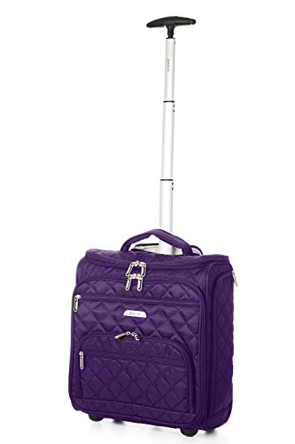 "Price comparison product image Aerolite 16"" Carry On Under Seat Wheeled Trolley Luggage Bag for American Airlines, Delta, Southwest & More! (Purple)"