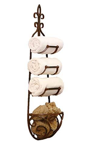 c Iron Hanging Towel Rack w/ Basket ()