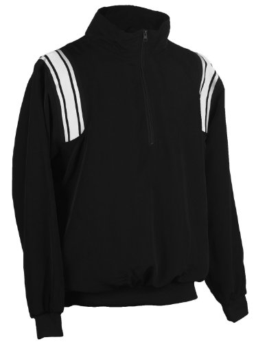Referee Jacket - Adams USA Smitty Umpire 1/2 Zip Long Sleeve Pullover Jacket (Black/White, X-Large)