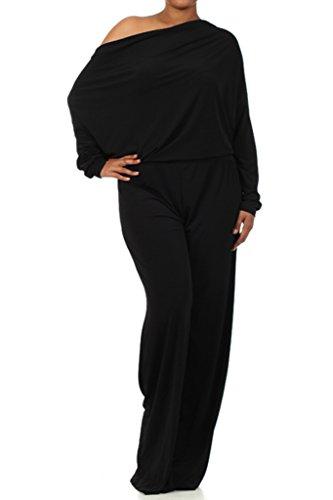 sexy diva Plus Multi Way Reversible Plunging Convertible Romper Jumpsuit Off One Shoulder Halter - Black - 3XL Diva Jumpsuit