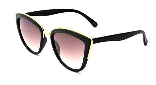 Dollhouse Women's Cateye Sunglasses, Opaque Shiny Black Frame with Metal Bridge and Brow Detail, APG Smoke Lens, - Dollhouse Sunglasses