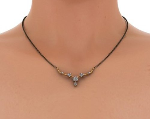 Or jaune 18K 0,45CT TW White-diamond (IJ | SI) Mangalsutra