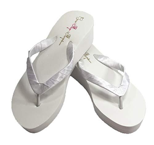 Bridal Flip Flops Womens Wedding Platform Heel Satin Wedge White 8 M US -