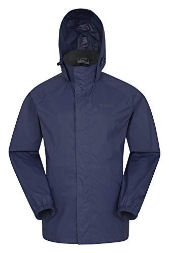 Mountain Warehouse Pakka wasserdichte Herren Jacke zusammenfaltbare Regenjacke Windjacke Kapuze Tragebeutel Camping Outdoor, Frühling