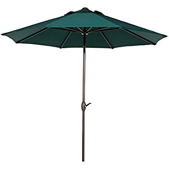 Abba Patio 9u0027 Patio Umbrella Outdoor Table Market Umbrella With Push Button  Tilt/Crank
