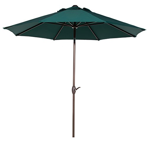 Abba Patio Sunbrella Patio 9 Feet Outdoor Market Table Umbrella with Auto Tilt and Crank, 9', Canvas Forest Green ()
