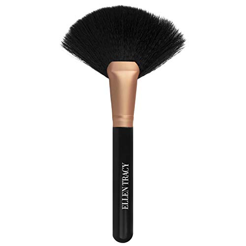 Ellen Tracy Large Powder Brush and Makeup Brush, Loose Powder Brush, Fluffy Powder Brush, Setting Powder Brush for Makeup Application - Black and Gold