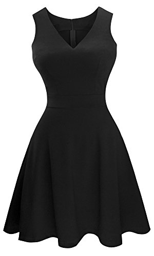 Sylvestidoso Women's A-Line Sleeveless V-Neck Pleated Little Black Cocktail Party Dress (XL, Black) -