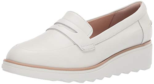 CLARKS Women's Sharon Ranch Penny Loafer White Leather Combi 080 M US
