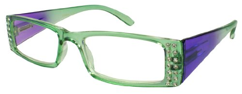 Edge I-Wear Women's Clear Rhinestone Lightweight Rectangular Clear Lens Reading Glasses 31806SR-+1.50-4(CL+MINT)