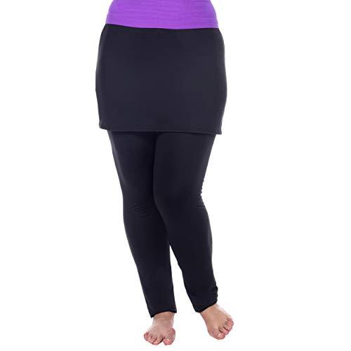 (White Mark Women's Full Length Skirted Leggings Yoga Pants - Black -)
